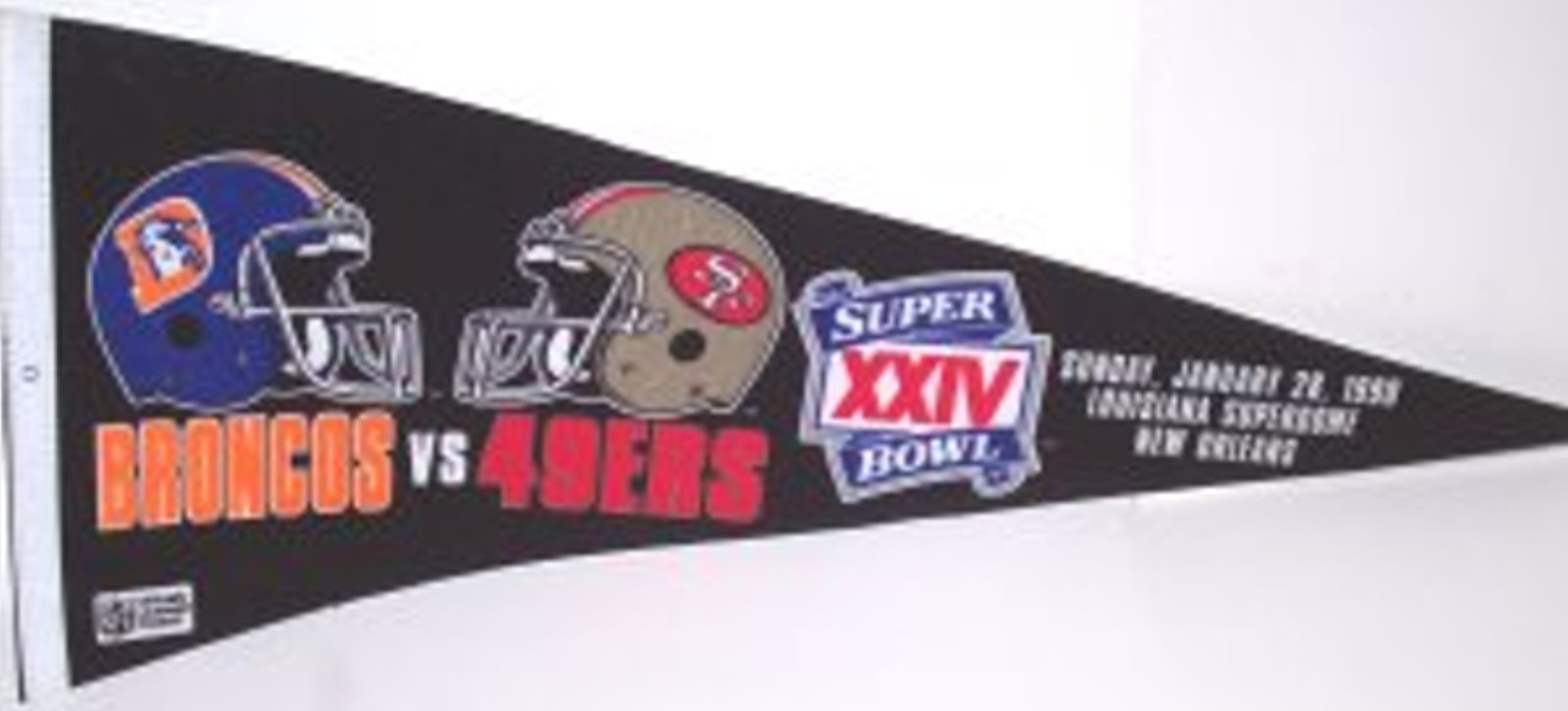 Super Bowl XXIV San Francisco 49ers vs Denver Broncos Pennant